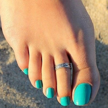 Women Lady Adjustable Antique Silver Metal Toe Ring Foot Beach Jewelry (Color: Silver) = 5658246849