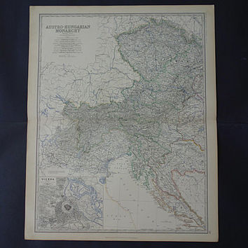 AUSTRIA Large antique map of the Austro-Hungarian Empire 1878 original old English poster Slovenia Czechia Croatia big vintage maps 49x61c