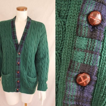 Vintage - 90s - Dark Green & Blue - Tartan Plaid - Button Up - Mens - Slouchy - Cable Knit - Cardigan Sweater - Unisex