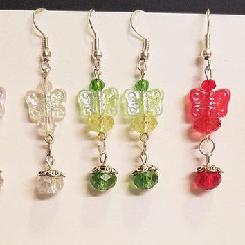 3 pr butterfly bead drop earrings lot dangles wholesale jewelry bead drops red green
