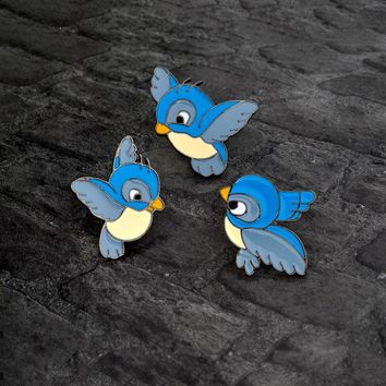 Cartoon Blue bird Brooch Cute Enamel Three birds Animal Pin Button Backpack Denim jacket Pin Collar Lapel Badge Jewelry for kids