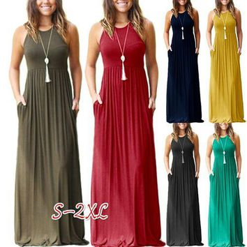 6ea0561f4e5 Fashion Women Casual Dresses Solid Maxi Dress with Pockets Sleev