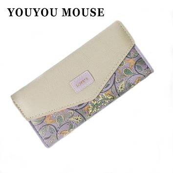 YOUYOU MOUSE 3 Folds Flowers Printing Women Wallets Hit Color Envelope Money Bag PU Leather Wallet Long Ladies Clutch Coin Purse