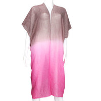 Pink & Brown Ombre two tone long frayed edge cover up kimono cardigan - High Quality