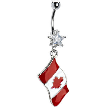 Canada Flag Dangle Belly Ring