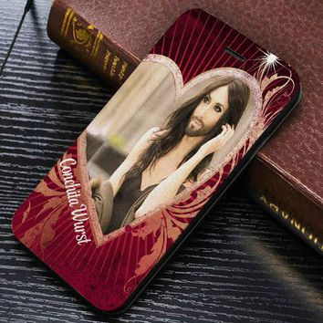 Conchita Wurst Wallet for iPhone 4 / 4s / 5 / 5s / 5c / 6 / 6 plus / 7 Samsung Galaxy s3 / s4 / s5 / s6 / s7 Case