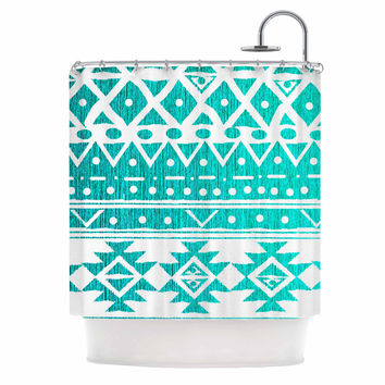 "Nika Martinez ""Aquamarine Tribal"" Teal Blue Shower Curtain"