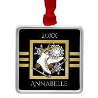 Ice | Figure Skating Black Faux Gold Modern Name Metal Ornament