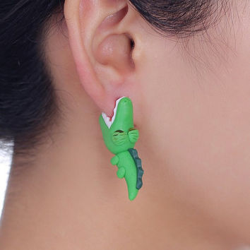 1 pair cute crocodile stud earrings 100% handmade polymer clay earrings 925 silver pin earrings for women jewelry