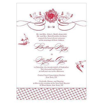 French Whimsy Invitation Vintage Pink (Pack of 1)