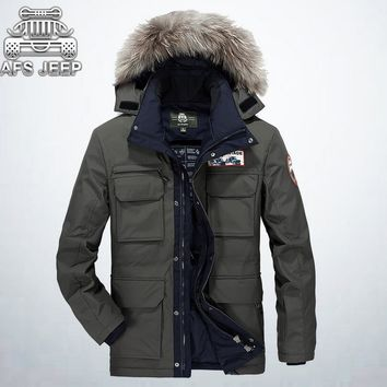 AFS JEEP 2016 Winter Man's Fur Collar Down Parkas,Detachable High Quality Thick White Duck Down Brand Warmly Cardigan Jackets