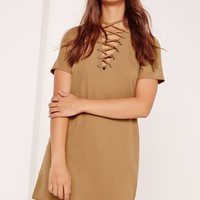 Missguided - Lace Up Front Shift Dress Camel