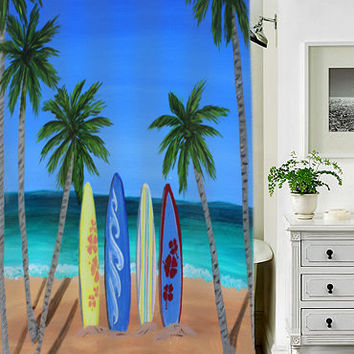 surfboards special custom shower curtains that will make your bathroom adorable