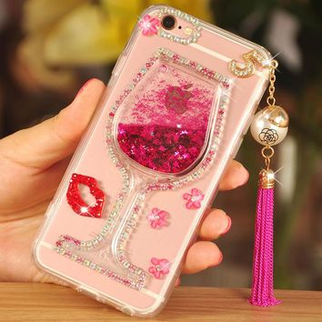 Women Girl Crystal Rhinestone Diamond+Bling Wine Cup Quicksand Phone Case For Samsung Galaxy J1 J2 J3 J5 J7 Prime 2016 2017Cover
