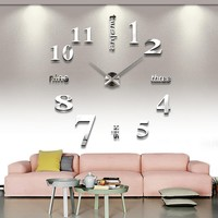 Lecoolife Modern DIY 3D Frameless Large Wall Clock Style Watches Hours Room Home Decorations (Silver)
