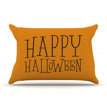 "KESS Original ""Happy Halloween - Orange"" Pillow Case"
