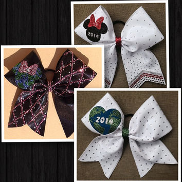 Worlds themed cheer bows, 3 designs to choose from.  All fabric covered with vinyl and rhinestones