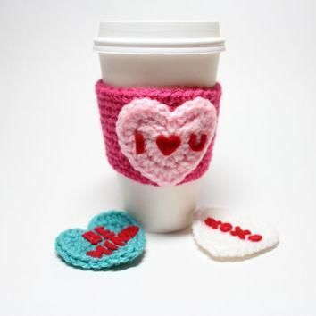 conversation heart coffee cozy valentine s day coffee sleeve heart crochet can cozy