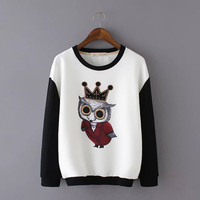Block Crown Owl Print Sweater