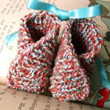 Kimono Baby Booties  Blue Red and Tan by GlenEchoDesigns