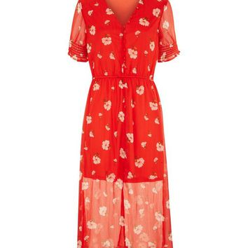 Influence Red Floral Print Midi Dress