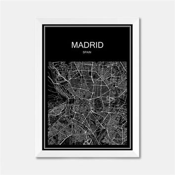 Madrid Spain CITY World map poster abstract vintage paper print picture bar cafe pub living room bedroom house decor 42x30cm