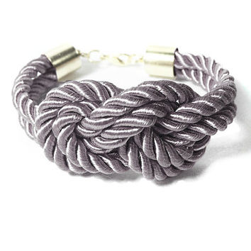 Nautical Silk Cord Grey Bracelet, Sailors Knot Bracelet, Bridesmaids Silver Rope Bracelet