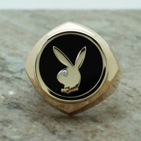 14k yellow gold playboy ring