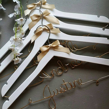 Set of 8 FREE SHIPPING SPRING Sale 15% off Bridal Party Hangers, Bride Hanger, Personalized Wedding Hangers, Bridesmaid Hangers