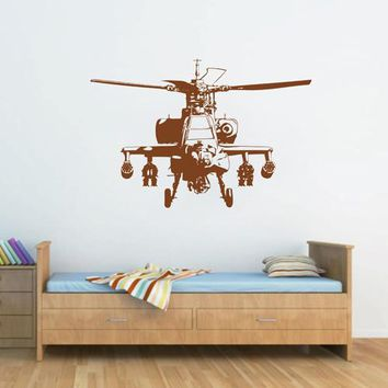ik1898 Wall Decal Sticker military helicopter transport machine bedroom room