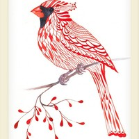 Cardinal Bird // SALE 3 for 2 // lacy cardinal on branch art print, size 8x10 (No. 1)