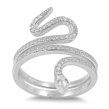925 Sterling Silver CZ Snake Ring 25MM