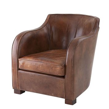 Tobacco Leather Side Chair | Eichholtz Club Berkshire