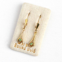 Vintage Drop Earrings - Rolled Gold Simulated Peridot Dangle - 1940s 14k Gold Pierced Wire & Glass Stone Jewelry West Germany Original Card