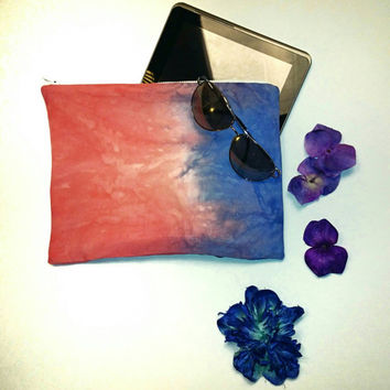 Hand dyed Sunset Clutch Purse pouch handbag tablet ipad case