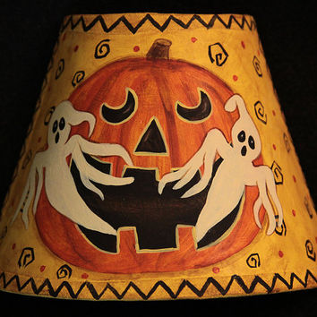 Folk Art Halloween Night Light - MADE TO ORDER - Howling Jack-o-Lantern with Spooky Ghosts Plug in the Wall Light, Primitive Halloween Decor
