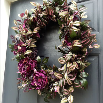 Purple Peony Spring Door Wreath Spring Wreaths Purple Door Decor Summer Wreaths
