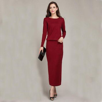 CUPUPI8 2016 New Spring and Autumn Female Round neck Floor-length Cashmere Sweater  One-piece Dress Casual Solid Knitting Women Dress