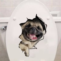 Hole View Vivid Dogs 3D Wall Sticker Bathroom Toilet Living Room Decoration Animal Vinyl Decals Art Sticker Wall Poster mural