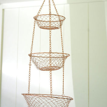 vintage hanging basket // three tier mesh hanging basket // fruit basket // metal hanging basket // pink basket // farmhouse hanging basket
