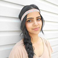 Hippie Headband Aztec Tribal Bohemian Headband Colorful Boho Headband brown and orange Hair Accessories