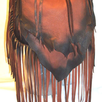 "Designer Leather Handbag Custom Fringed Artisan Fringe Purse Deerskin Fringe Bag  ""THE LIONESS""  Handmade by Debbie Leather"