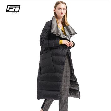 Fitaylor Winter Women Down Coat Double Sided Down Jacket Plus Size Double Breasted Ultra Light Warm Parkas Snow Outwear