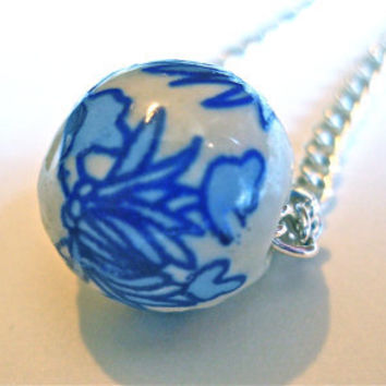 Asian Necklace Blue Necklace Blue and White Necklace Ceramic Necklace Beaded Necklace  Asian Jewelry Blue Jewelry Ceramic Jewelry