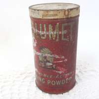 Vintage tin canister storage container rusty metal Calumet baking power