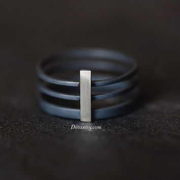Size 7 , Oxidized Sterling Silver, Handmade Jewelry, Long Bar Three Ring Band, Stacking Ring, Statement Ring, Thick Ring, Ready To Ship!