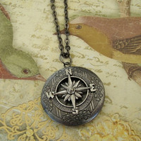Star Navy Dark Silver Compass World Travel Locket Necklace Wedding Bride Bridesmaid Mom Wife Anniversary Birthday Photo Picture -  Wanderer