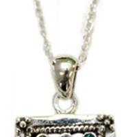 "Silver Choshen Necklace - Chain 18"" Pendant 3/4"" W X 5/8"" H-"