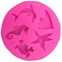 Dolphins hippocampus starfish silicone mold chocolate fondant cake decoration Kitchen soap Tools FT-104