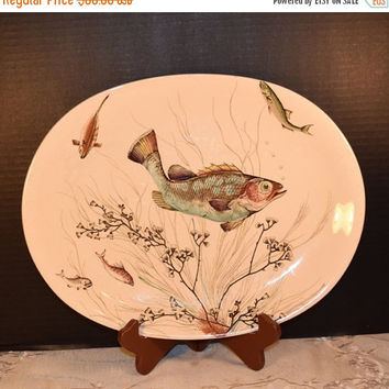 "Christmasinjuly Johnson Brothers Fish 14"" Platter Vintage Fish English China Platter Hand Engraving Glazed Ceramic Serving Dish Display Plat"